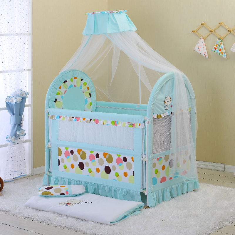 cat crib, European style environmental protection baby bed, multi-function children's iron bed can be extended with mos enhanced version of european style metal bed iron bed double bed pastoral style student bed 1 5 meters 1 8 meters