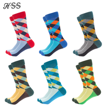 HSS Brand 5 pairs/lot Mens Colorful Pattern Business Socks Europe Big Size Casual Dress Crew EU 40-47 Happy Cotton