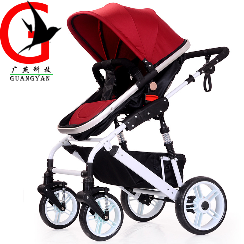 High-Landscape Pram Baby Stroller Portable Folding baby Carriage for Newborn Sit and Lie Stroller Aluminum Tube KL-CV-509 bore size 40mm 200mm stroke smc type compact guide pneumatic cylinder air cylinder mgpm series