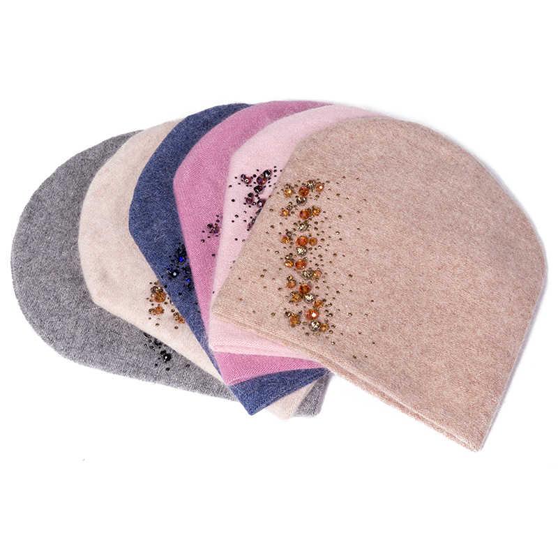 Evrfelan chapéu feminino de lã strass alta qualidade novo inverno malha gorro para meninas skullies bonnet femme