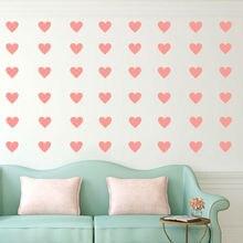 40 шт. 7*6,3 в форме сердца виниловые маленькие наклейки съемные настенные наклейки для Декор для детских комнат дизайн любви домашний декор