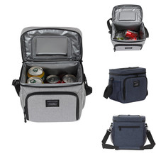 8.3L Outdoor Thermal Cooler Picnic Bag Insulated Bento Food Storage Container Cooling Pouch for Travel Camping 17 5inch food delivery bag insulated pizza bag promotional large thermal cooler bag food container outdoor black 600d 45x35x30cm