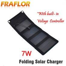 5V 7W 접는 접이식 휴대용 태양 전지 패널 휴대 전화 충전기 키트 태양 캠핑 모바일 휴대 전화 MP4 카메라 USB 충전기