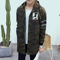 New men's 2016 spring and autumn Korean men's fashion hit color camouflage coat trend Slim Hooded Men's single-breasted jacket