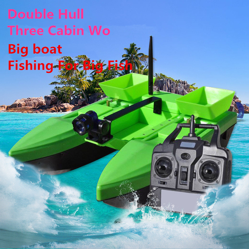 Professional Electric RC Bait Boat 500M 2KG Three Cabin Wo Double Hull Wireless Delivery hook feeding Smart RC Bait Fishing Boat free shipping factory price catamaran hull jabo 5a long distance two hoppers rc bait boat for releasing hook