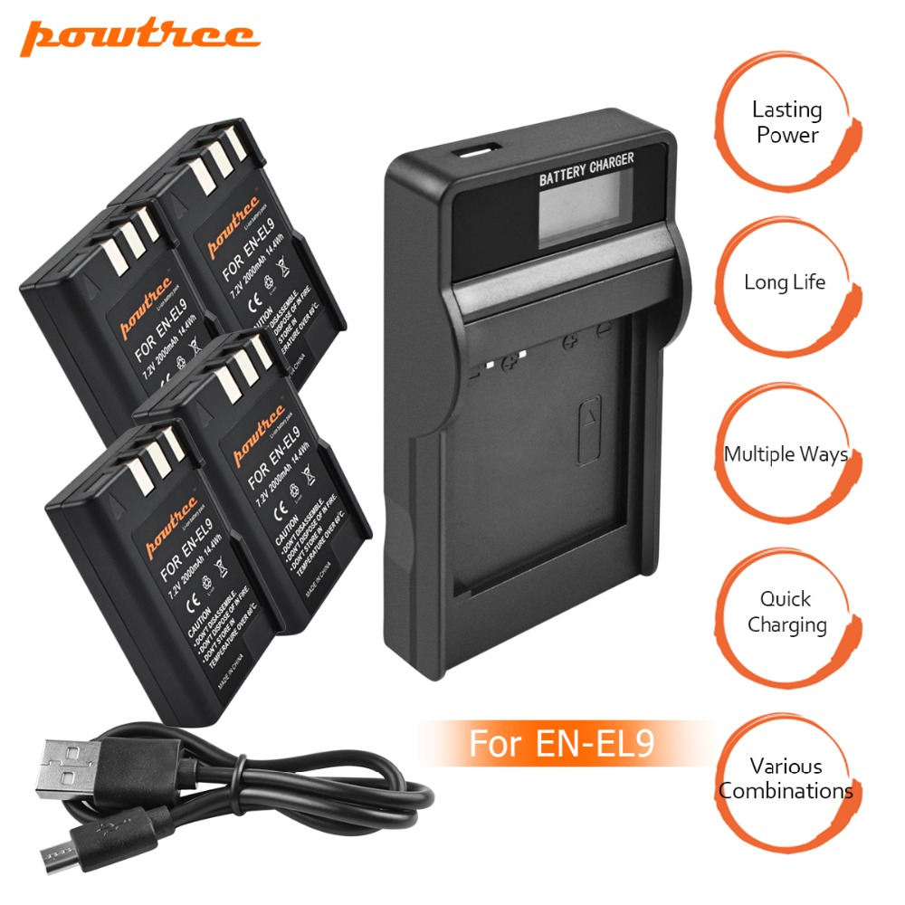 4Packs EN-EL9  EN EL9 ENEL9 ENEL9a EL9a camera Batteries+LCD USB Charger for Nikon EN-EL9a D40 D60 D40X D5000 D3000 L15