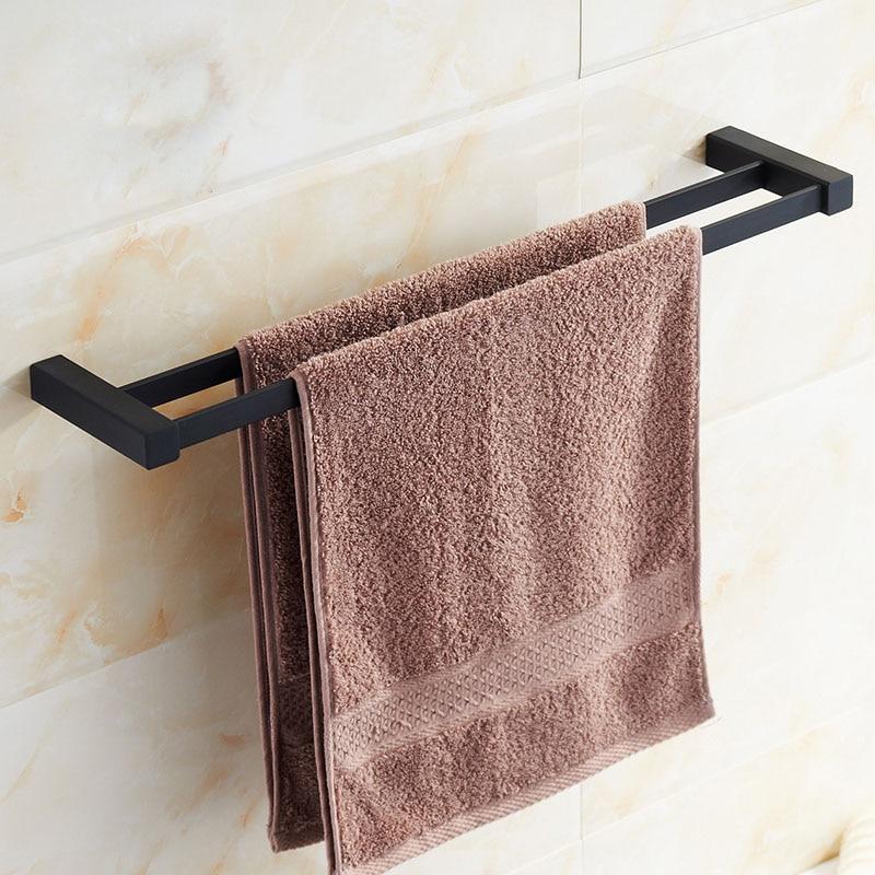 Bathroom Square Black Double Towel Bar 55cm Stainless Steel Black ...