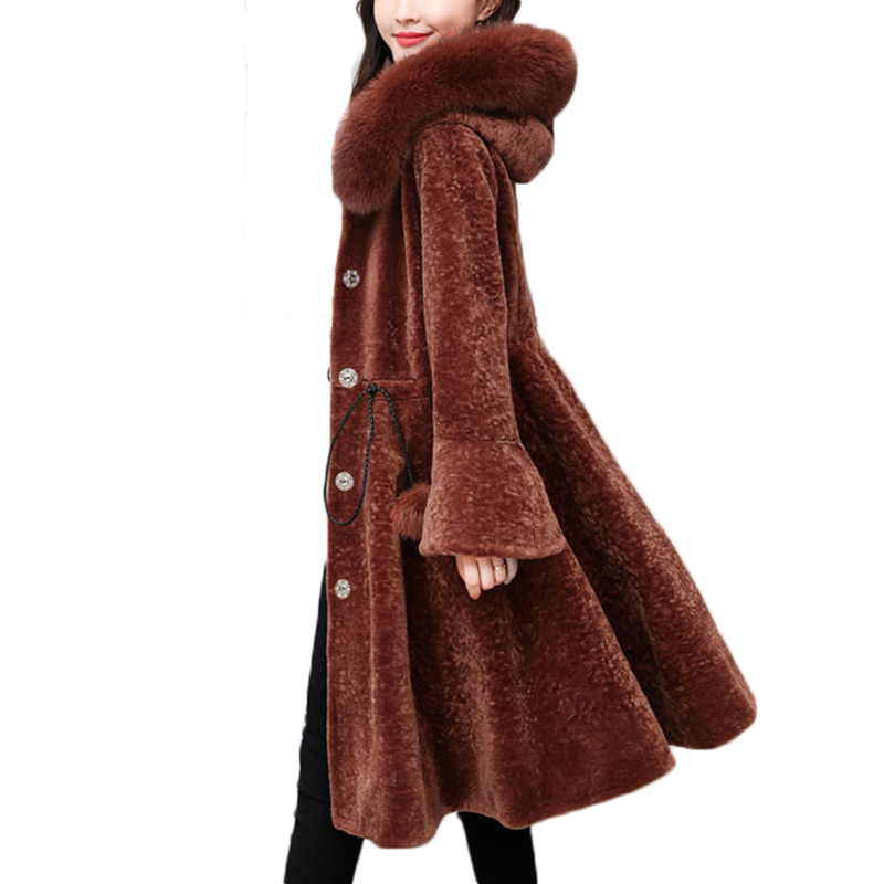 YAGENZ 3XL Fur Coat Female Sheep Shearing Overcoat Fox Fur Collar Wool Winter Jacket Women winter long wool coat designer A349 expressive figure drawing