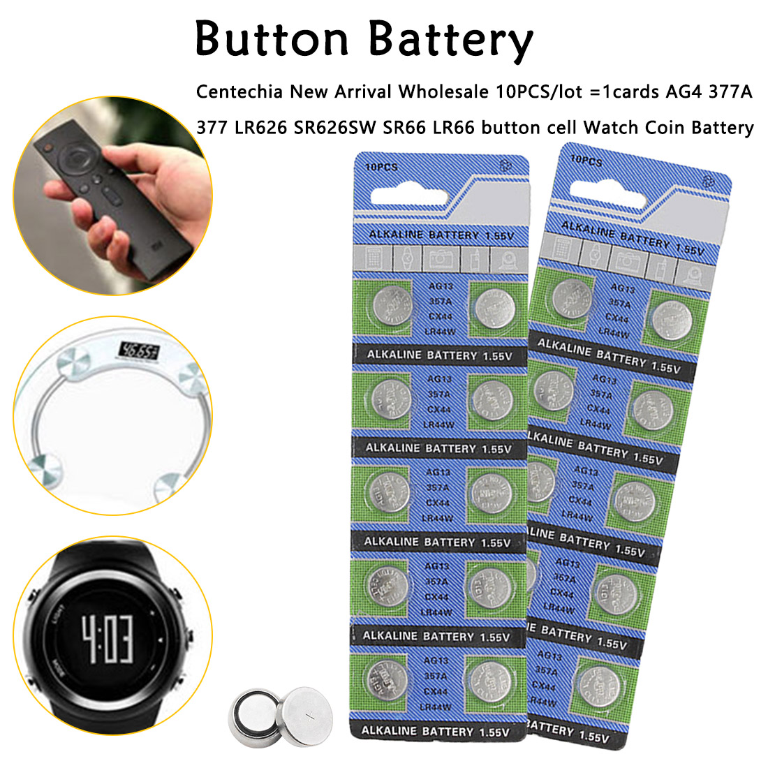 10pcs 1.5V AG13 Battery <font><b>LR44</b></font> L1154 RW82 RW42 SR1154 SP76 A76 357A pila <font><b>lr44</b></font> SR44 <font><b>AG</b></font> <font><b>13</b></font> Lithium Button Cell Coin Battery image