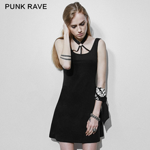 PUNK RAVE Women Backless Sexy Punk Dresses Casual Black Sleeveless personality Dress Club Party Mini