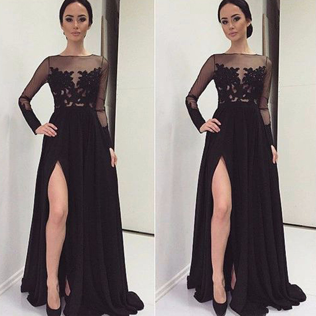 45010f59126 2019 Custom Made Gorgeous Slit High Long Evening Dresses Black Chiffon Full  Sleeves Lace See-Through Wedding Party Prom Gowns