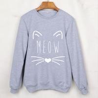 Cute Cat Print Animal Sweatshirts Long Sleeve O Neck Women Hoodies Hip Hop Punk Pullovers Grey