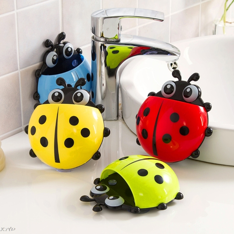 Cute Ladybug Toothbrush Holder Cartoon Toiletries Toothpaste Holder Wall Suction Bathroom Sets Cup Tooth Brush Container