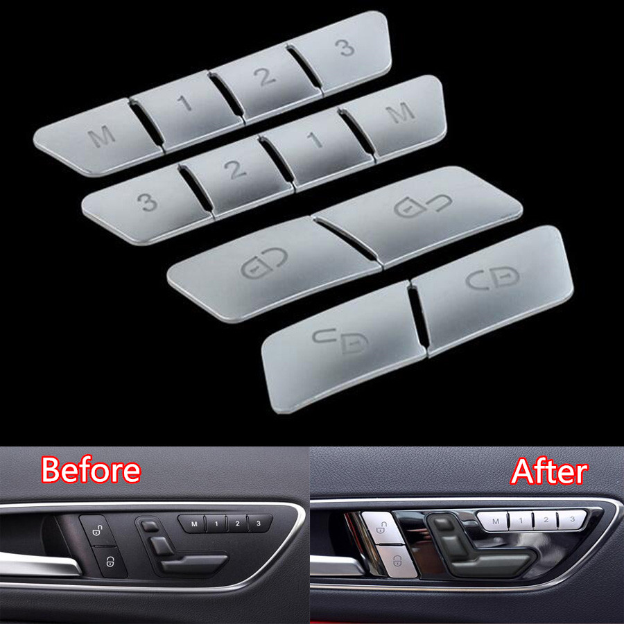 12Pcs Car Door Memory Seat Lock Unlock Adjust Switch Button Cover Trim Sticker For Mercedes Benz CLA/GLA/GLK/GLE/CLS/GL/ML/A/B/E decoration trim car door window lift cover armrest button decoration for mercedes benz gla glk cls ml300 320 350 450 500 gl350