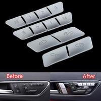 12Pcs Car Door Memory Seat Lock Unlock Adjust Switch Button Cover Trim Sticker For Mercedes Benz CLA/GLA/GLK/GLE/CLS/GL/ML/A/B/E