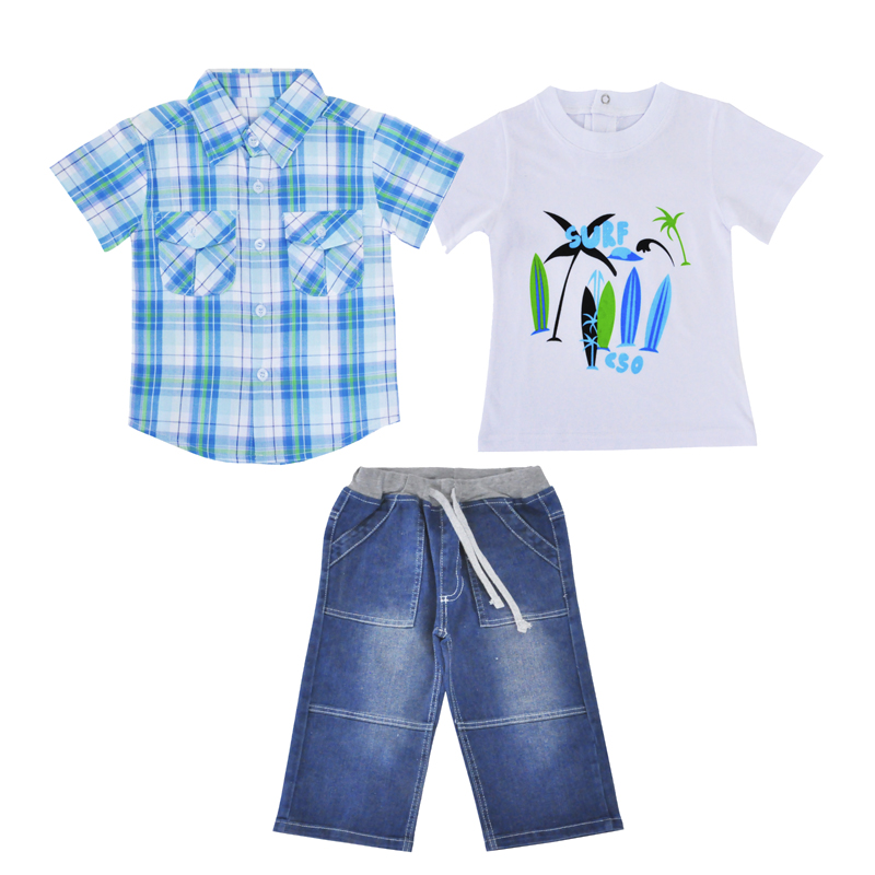 Boys Clothing Sets Summer Children Clothing Boys Clothes Short Sleeve Plaid T Shirt Denim Pants 3pcs Kids Clothes Set for Boy 2pcs children outfit clothes kids baby girl off shoulder cotton ruffled sleeve tops striped t shirt blue denim jeans sunsuit set
