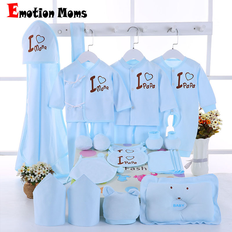 Emotion Moms 22PCS/set newborn baby girls clothes cotton 0-6months infants baby girl boys clothing set baby gift set without box