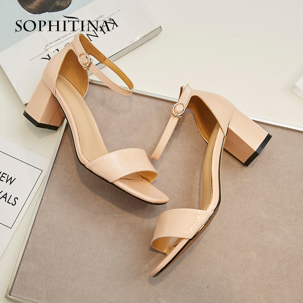 SOPHITINA New 2019 Basic Sandals Adult Genuine Leather Casual Office Shoes Solid Buckle Strap Classics Fashion