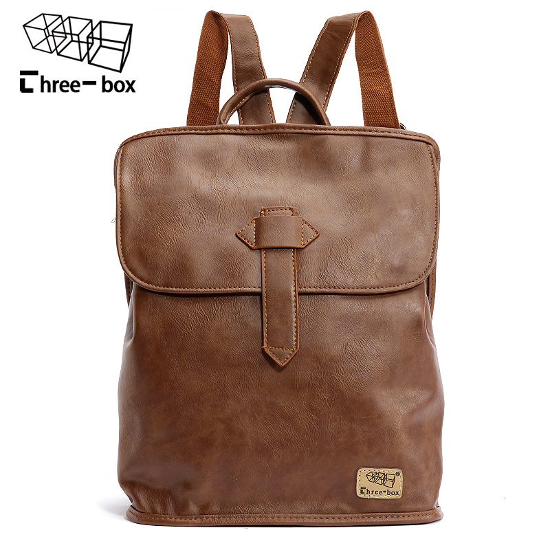 Three-box New Brand Casual Men Bag Leather School Backpack Laptop Daypacks High Quality Vintage Travel Bag Male Rugzak Mochila saimi skdh145 12 145a 1200v brand new original three phase controlled rectifier bridge module