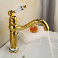 Bathroom Basin Faucet Brass Basin Faucet Hot & Cold Sink Mixer Elegant Retro Tap Toilet Sink Golden/Antique Tap Crane Torneira