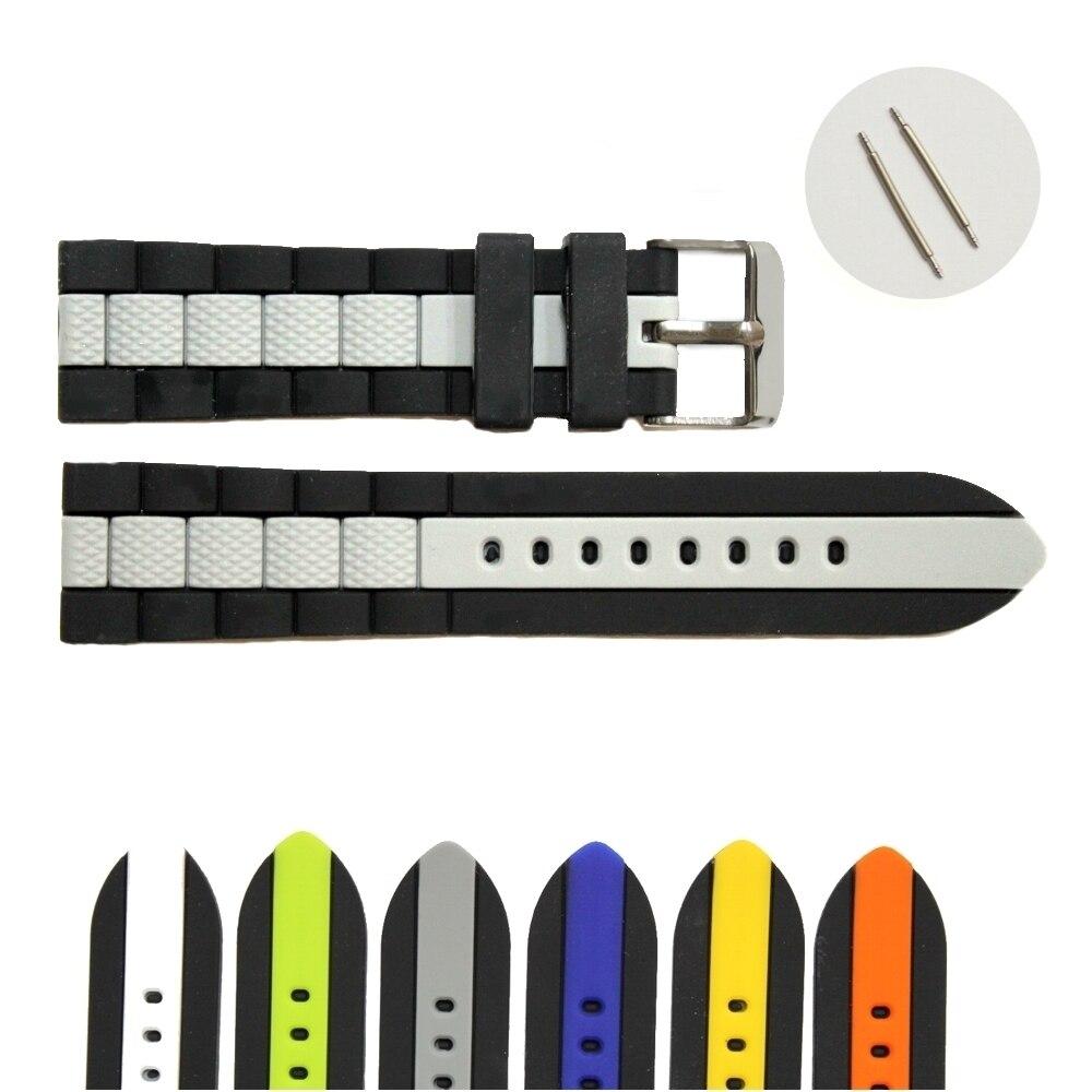 22mm en gros 18 Pcs/Lots vert gris bleu blanc multicolore nouveau Silicone gelée caoutchouc unisexe bracelet de montre sangles WB1050-22 - 5