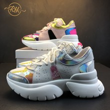 RY-relaa sneakers platform shoes spring new illusion leather casual thick bottom versatile sports ins old womens tide