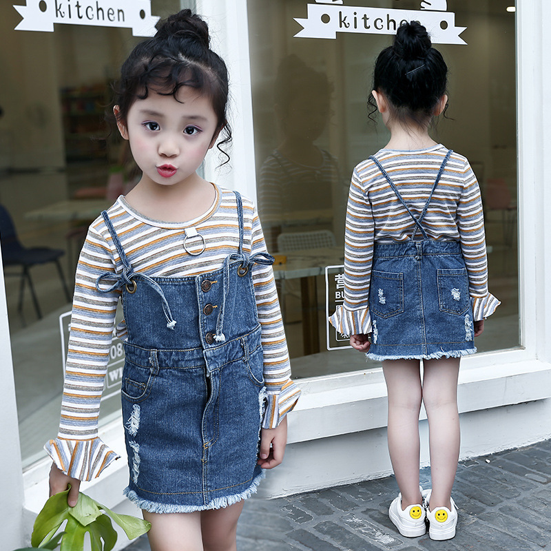 Summer Wear New Children Korean Fashion Child Camisole Cowboy Long Sleeve Stripe T-shirts Two Pieces Kids Clothing Sets  new 2015 summer children t shirts baby clothes child 100