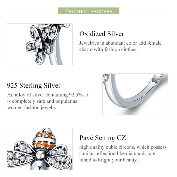HTB1QJFgKeGSBuNjSspbq6AiipXaI BAMOER 100% 925 Sterling Silver Trendy Bee & Daisy Flower Finger Rings for Women Adjustable Size Valentine Gift Jewelry SCR422