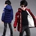 Meninos jaqueta de inverno à prova d' água à prova de vento de algodão acolchoado jaqueta de veludo engrossar quente com capuz menino casaco outwear roupa das crianças