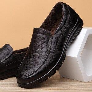 Image 4 - أحذية من الجلد الحقيقي الرجال أحذية الشتاء ماركة الأحذية أحذية دافئة أفخم حذاء كاجوال رجالي الذكور عالية الجودة جلد البقر المتسكعون KA444