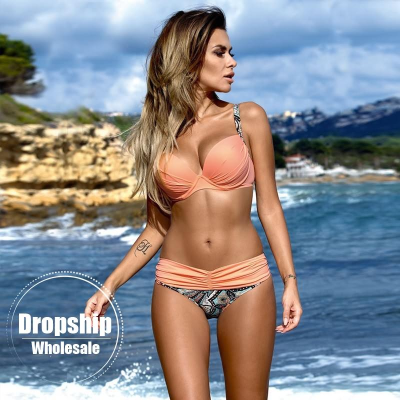 2018 Sexy Women Bikini Set Flower Print Push up Bikinis Underwear Top+ Low Waist Bottom For Summer Swimming Pink Solid Swimwear