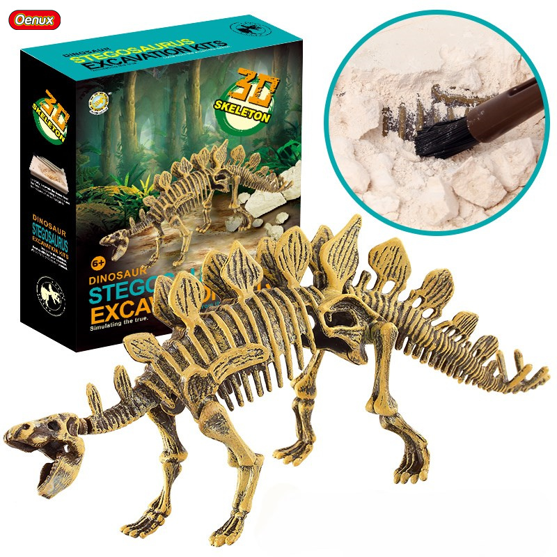 Oenux Jurassic Dinosaur Fossil Skeleton Bones Model Excavation Archaeology Action Figure Dinossauro Educational Kids Xmas Gift 1pc saichania dinosaur action figure toys hand puppet kids educational model 28 319