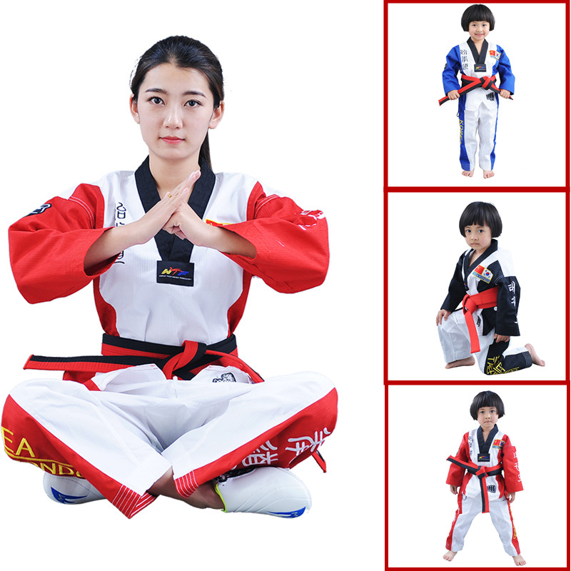 Very Good Quality colourful Taekwondo uniform Blue WTF tae kwon do clothes Red karate dobok Chromatic TKD V-neck suit for kids