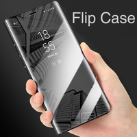 Mirror Clear View Leather Flip Case Cover For Samsung S6 S7 Edge S8 J7 Plus Note