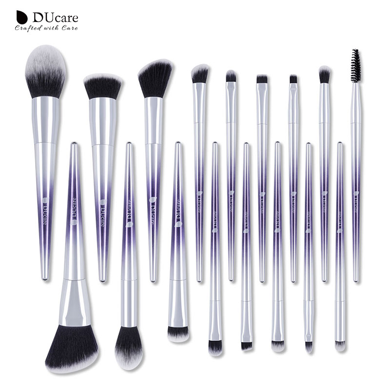 DUcare 17 PCS Makeup Brushes Set Blush Eyeshadow Eyebrow Lip Powder Foundation Make up Brushes Beauty Essentials Cosmetic Tools 10 pcs crystal professional makeup brushes set beauty power blush flame angle shadow comestic makeup tools
