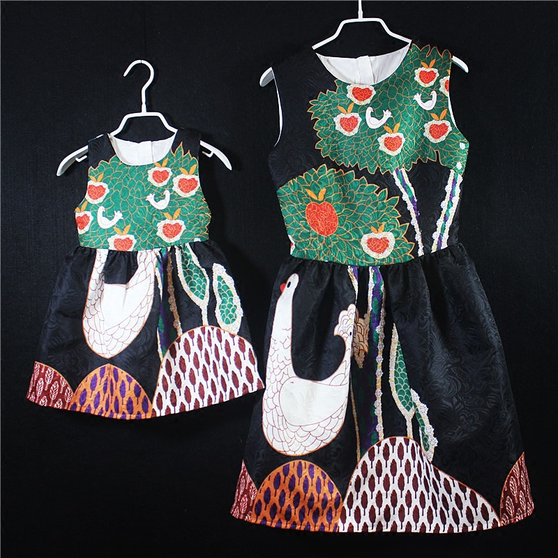 Mommy and Mini Me Matching Clothes Mother Daughter Dresses Mama and Baby Panda Print Fashion Dress for Family Matching Outfits 2018 new mother daughter dress family matching outfits fashion mommy and me long dress family fitted party clothing