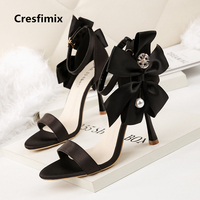 Cresfimix sandalias de mujer women fashion black comfortable buckle strap sandals lady comfy leisure red high heel shoes c2621