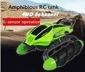 Nuevo coche anfibio tanque RC 2.4G 6 canales ground actualizado cross-country race truco tank juguetes para niños Con la Caja Original Birhday