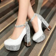 New 2015 Women Glitter Round Toe Platform Pumps Shoes Ladies High Thick Heels Shoes Vintage Fashion Pumps Sexy Single Shoes V652
