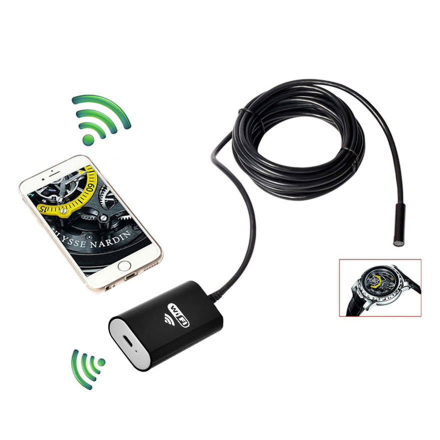 8mm WiFI Endoscope with Wireless Wifi Transmitter Waterproof 720P Soft Cable Inspection Camera Snake Tube For Android PC iOS 2m in Mini Camcorders from Consumer Electronics