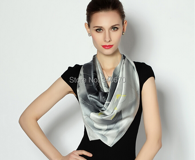 luxury brand <font><b>scarf</b></font> women 2016 <font><b>90x90</b></font> 100% satin <font><b>silk</b></font> winter women new fashion hijab style genuine spring lady hand-painted shawls image