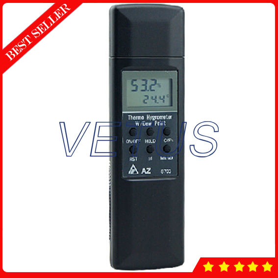 AZ8703 temperature and humidity meter tester hygrometer digital indoor air quality carbon dioxide meter temperature rh humidity twa stel display 99 points made in taiwan co2 monitor