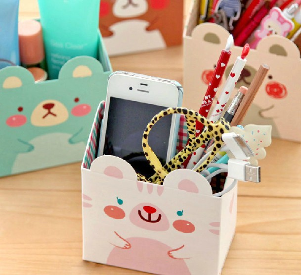 Fashion Cute Cartoon Animal Rabbit Desktop Storage Box Pen Holders Stationery Holders Kawaii Mini Cosmetic Storage Box