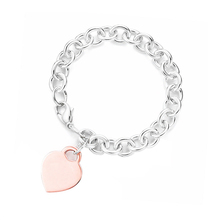 SHINEXIN 1:1 S925 Sterling Silver Original TIFF Pink Heart-Shape Pendant Bracelet For Women Fine High-quality Jewelry