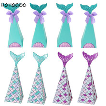 HOHOGOO 5pcs/10pcs Mermaid Favor Candy Box Paper Little Party Supplies DIY Gift For Birthday Boxes Decorations
