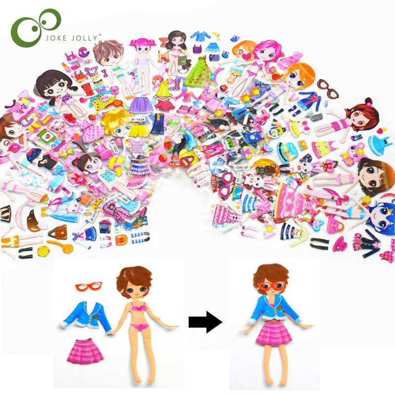 Cartoon Dress up Stickers 3D Stickers Fashion Brand Kids Children Girls Boys PVC Stickers Bubble Stickers Toy GYH