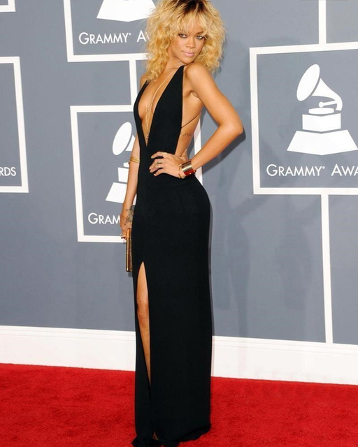 Rihanna Dress mermaid Split Front Chiffon Sleeveless Black Sexy V Neck  Backless Celebrity Dresses Evening Gowns dfcbb2c32