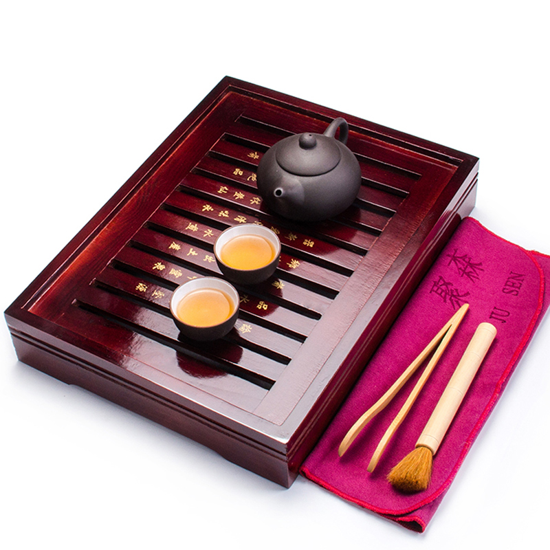 Ceramic Tea Set Kung Fu tea cup with Infuser Solid Wood Tea Tray Teapot Drinkware Chinese Gaiwan A031-1