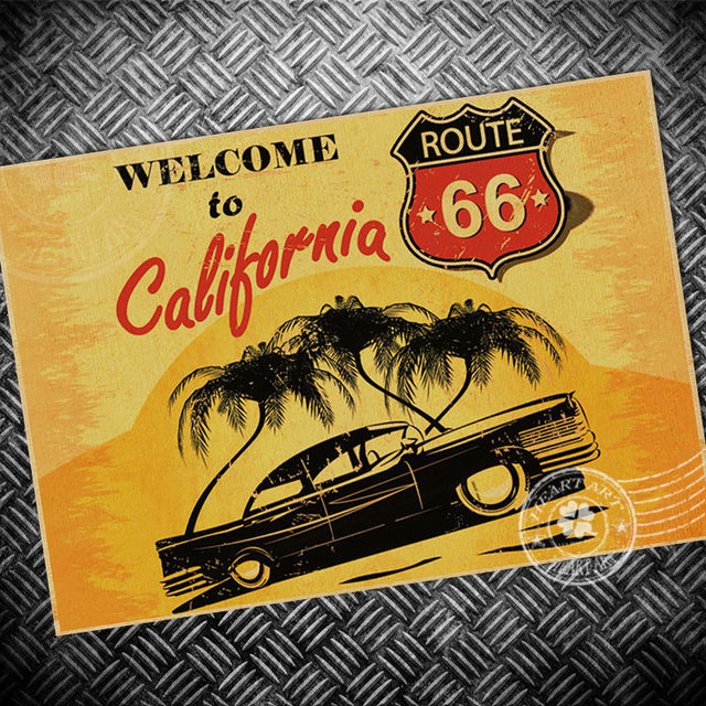 Online Shop Free ship Vintage poster USA Route 66 Map RetroOld paper ...