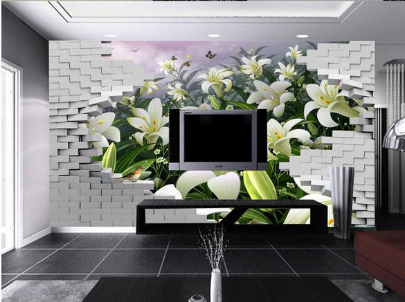 Custom Photo Wallpaper 3d Wall Murals Wallpaper 3d Wall Brick Lilies High-definition TV Setting Wall Decoration 3d Wallpaper
